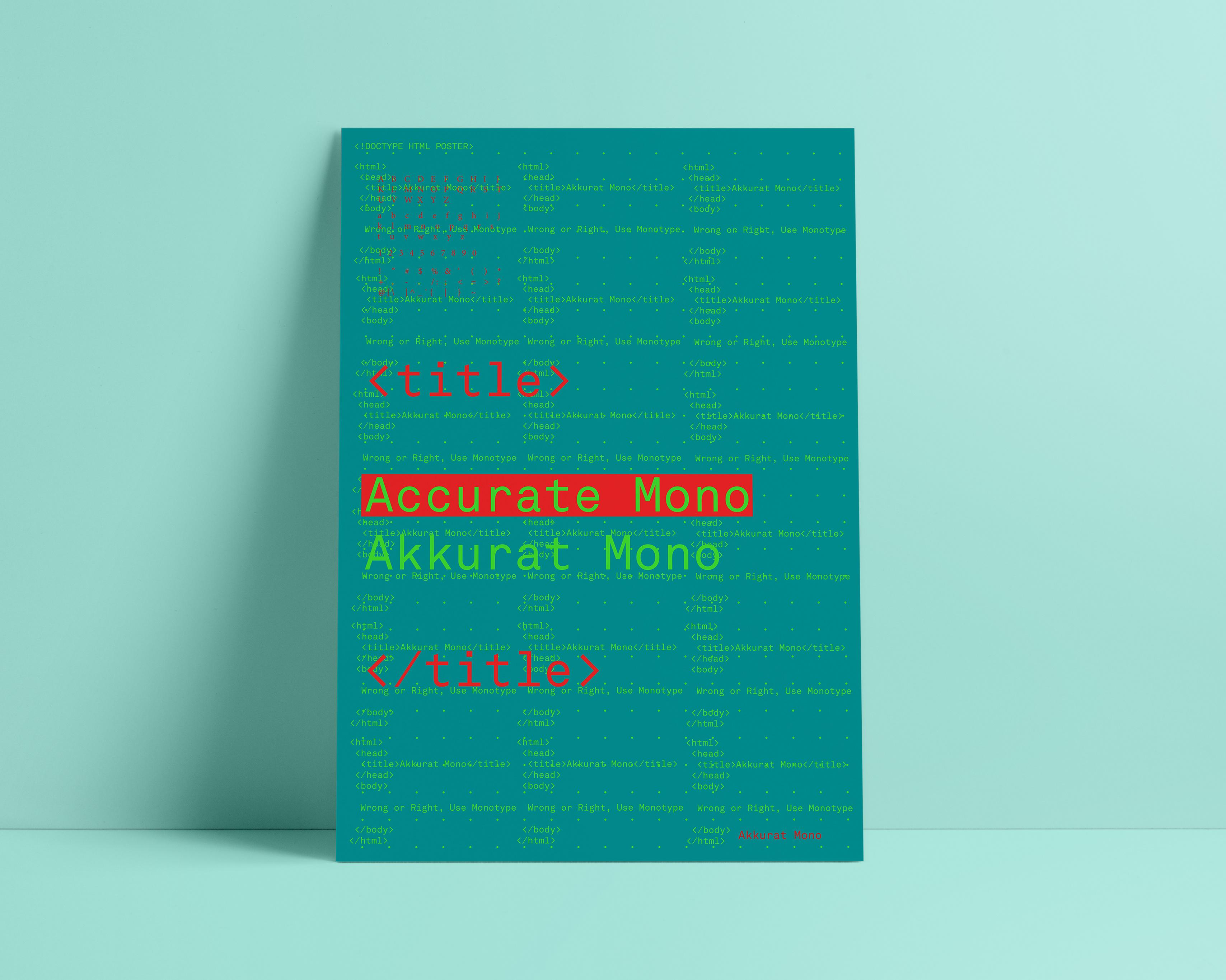 Joy Wagbara - Akkurat Mono - Type Specimen Poster