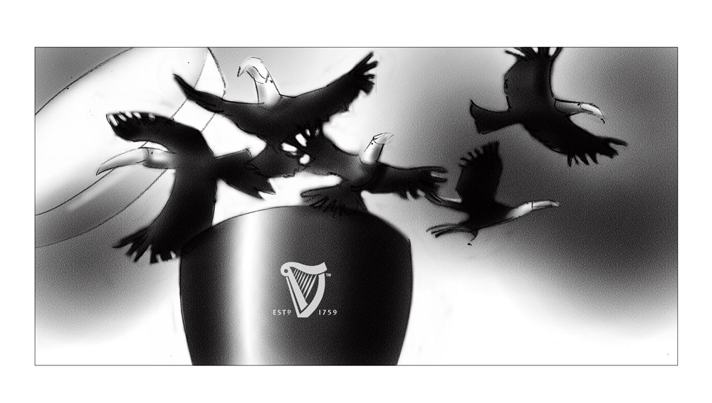 Black and white layouts for guinness campaign