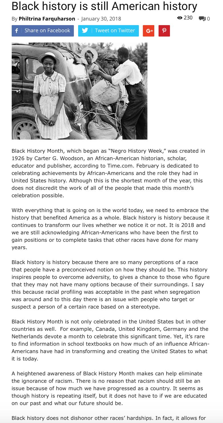Philtrina Farquharson Black History Is Still American History