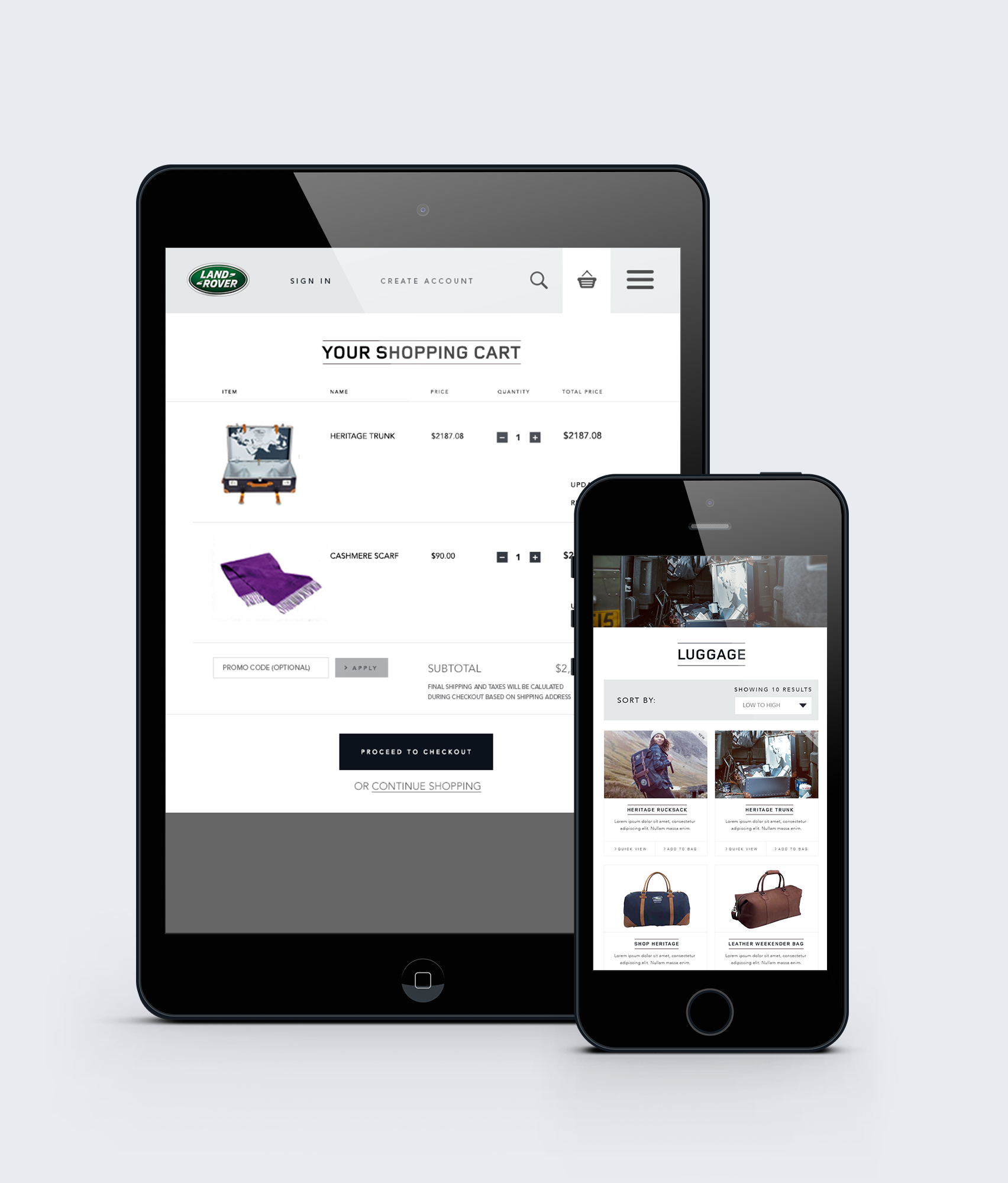 Land Rover USA ECommerce Site