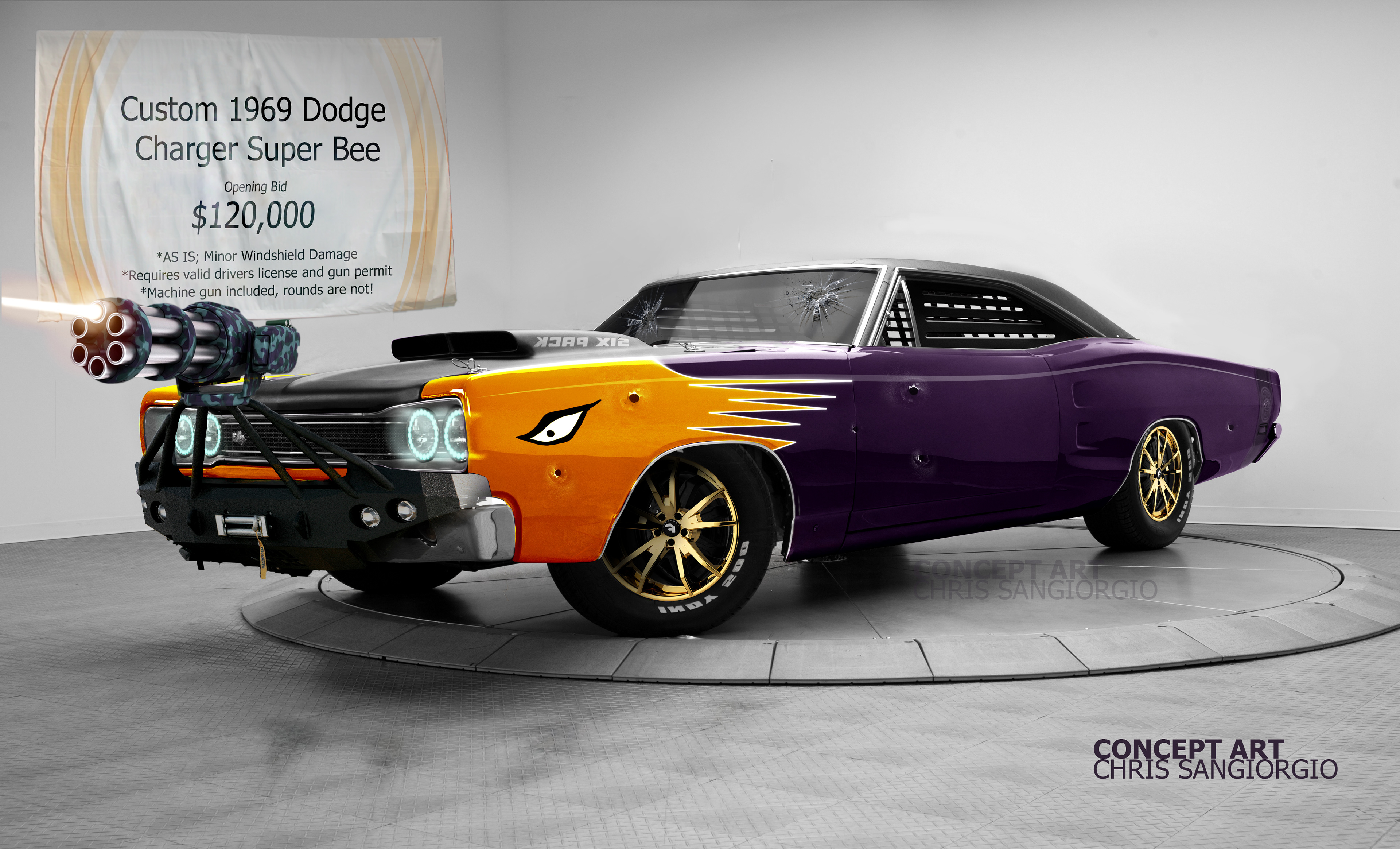 Chris Sangiorgio Concept Art El Carro De Duran 1969 Dodge Superbee