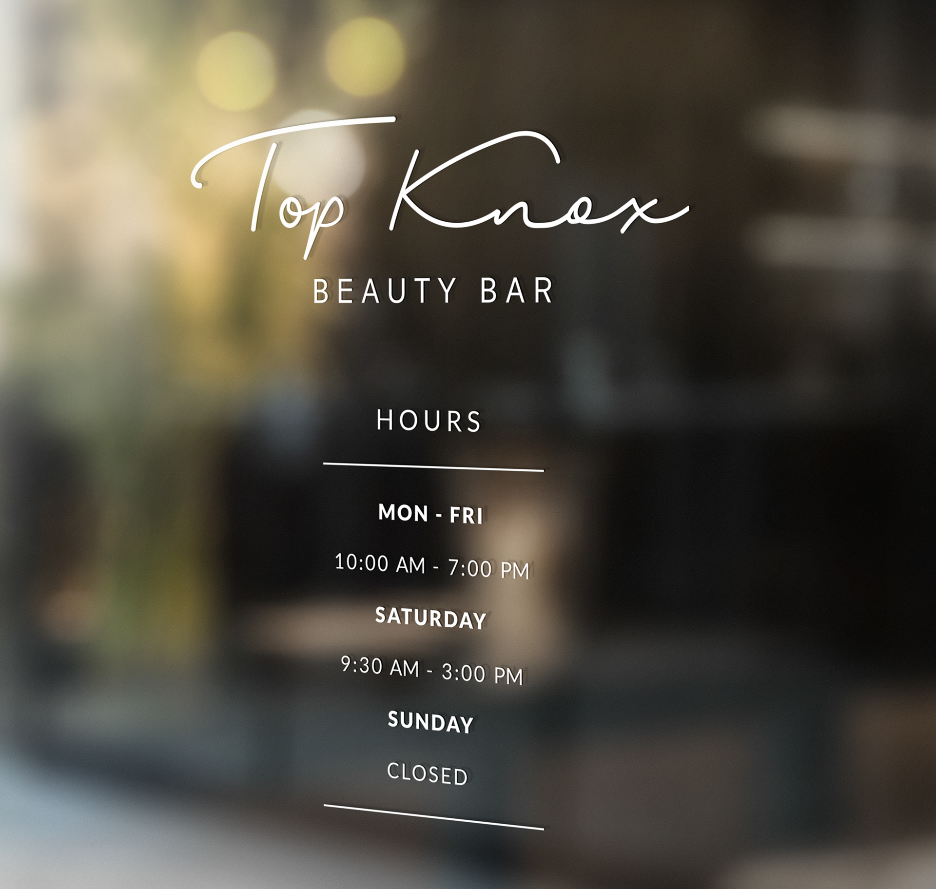 Ryan oglesby topknox beauty bar topknox beauty bar is a full service salon in knoxville tn this branding package included a logo design business cards letterhead window signage reheart Images