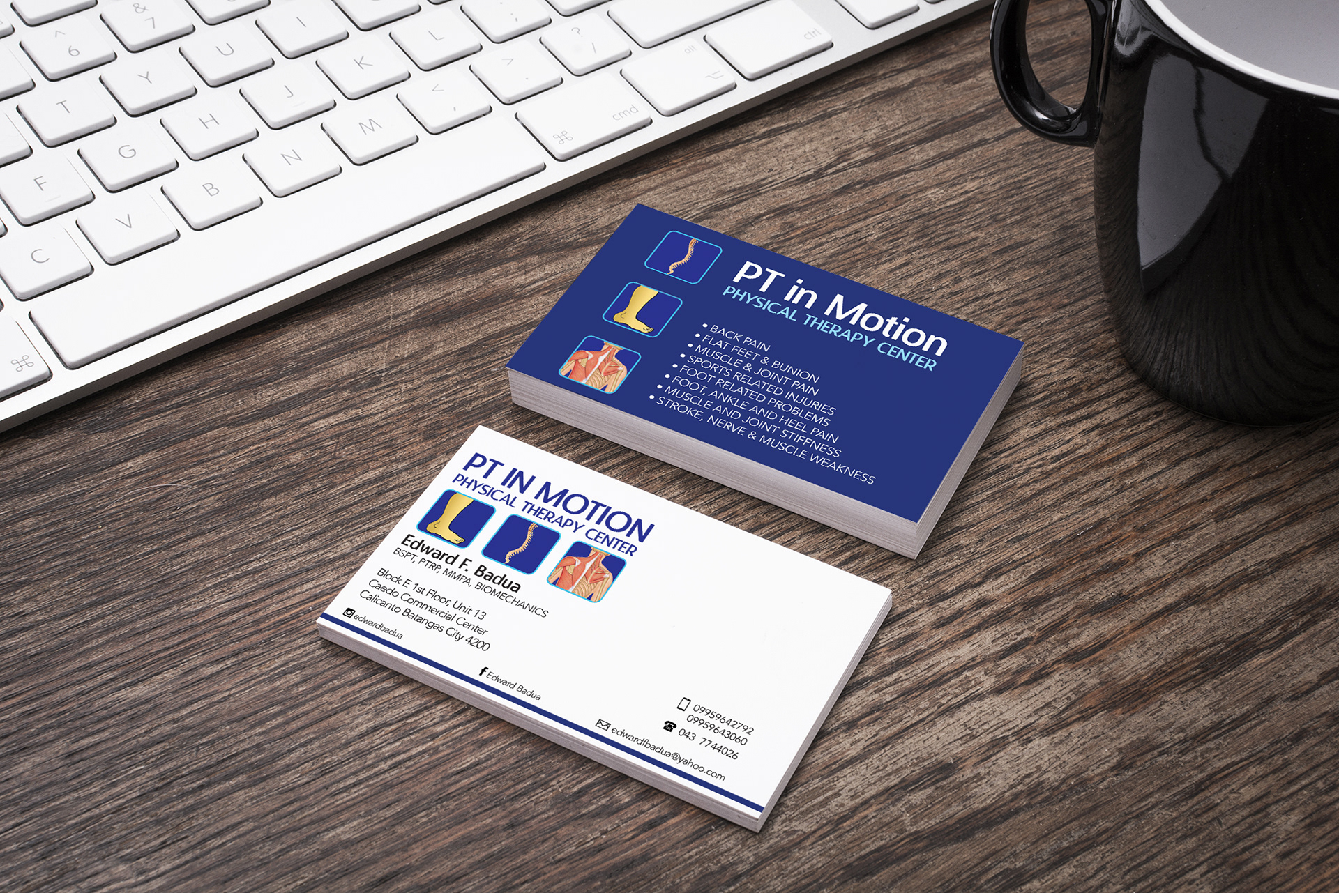 Aki jinn studio business card design for pt in motion business card design for pt in motion physical therapy center a high quality physical theraphy center opened by mredward badua colourmoves Gallery