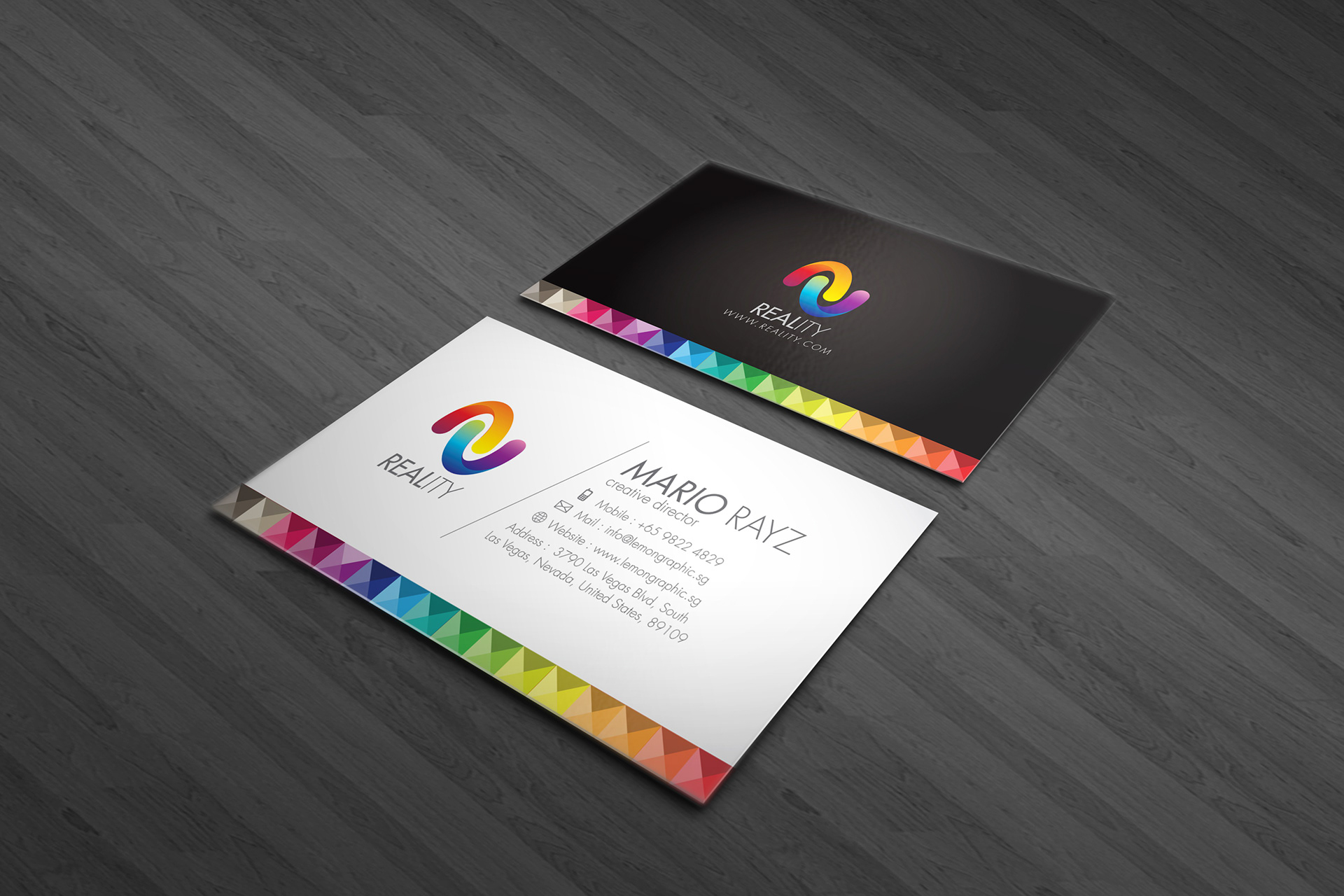 Lemon graphic singapore business card graphic design designer reality business card using a set of colorful pixel cube with form by 4 x triangles front is white and the back is black magicingreecefo Choice Image
