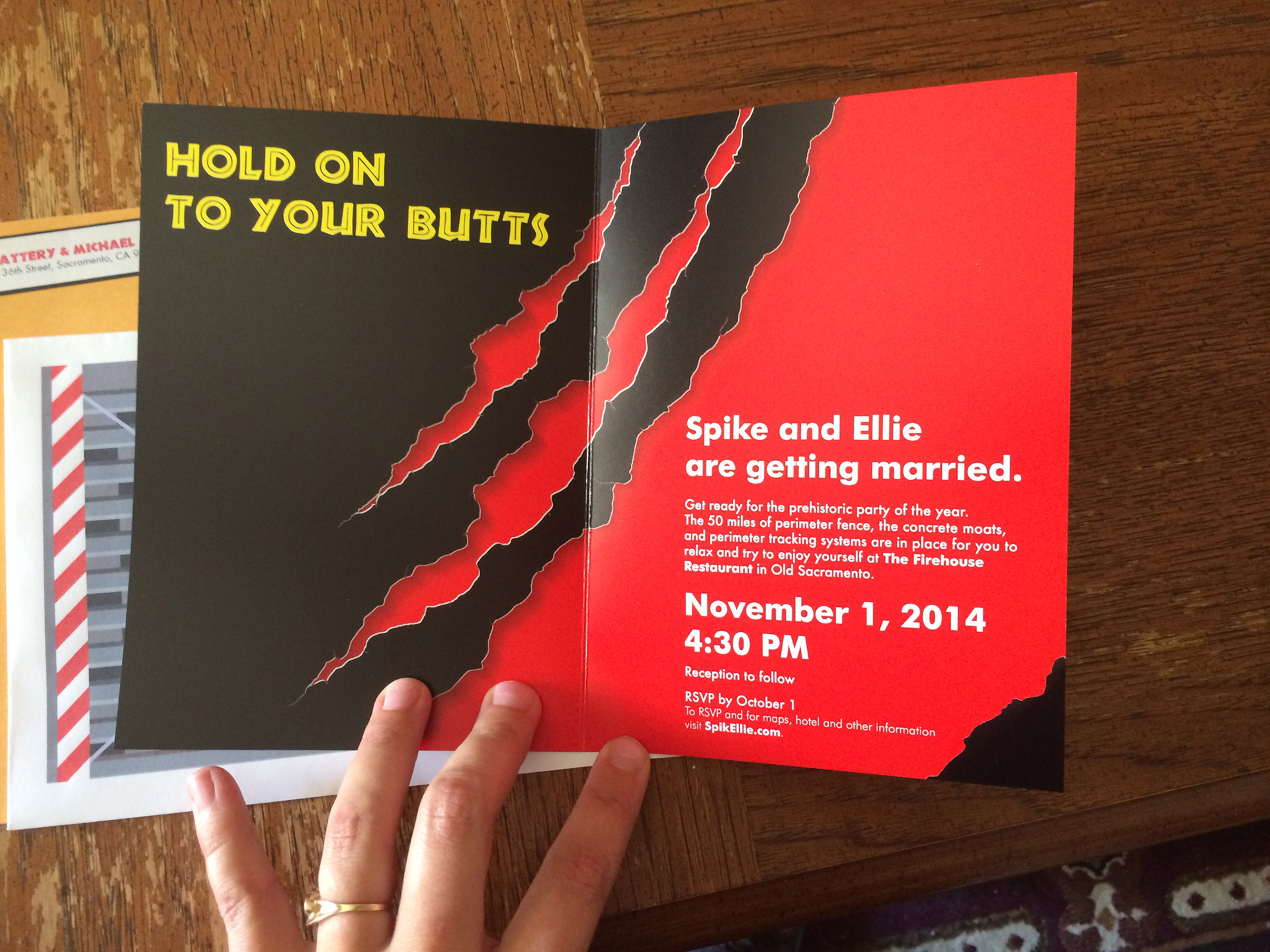 Laurie Bramlage - Jurassic Park Wedding Invitations