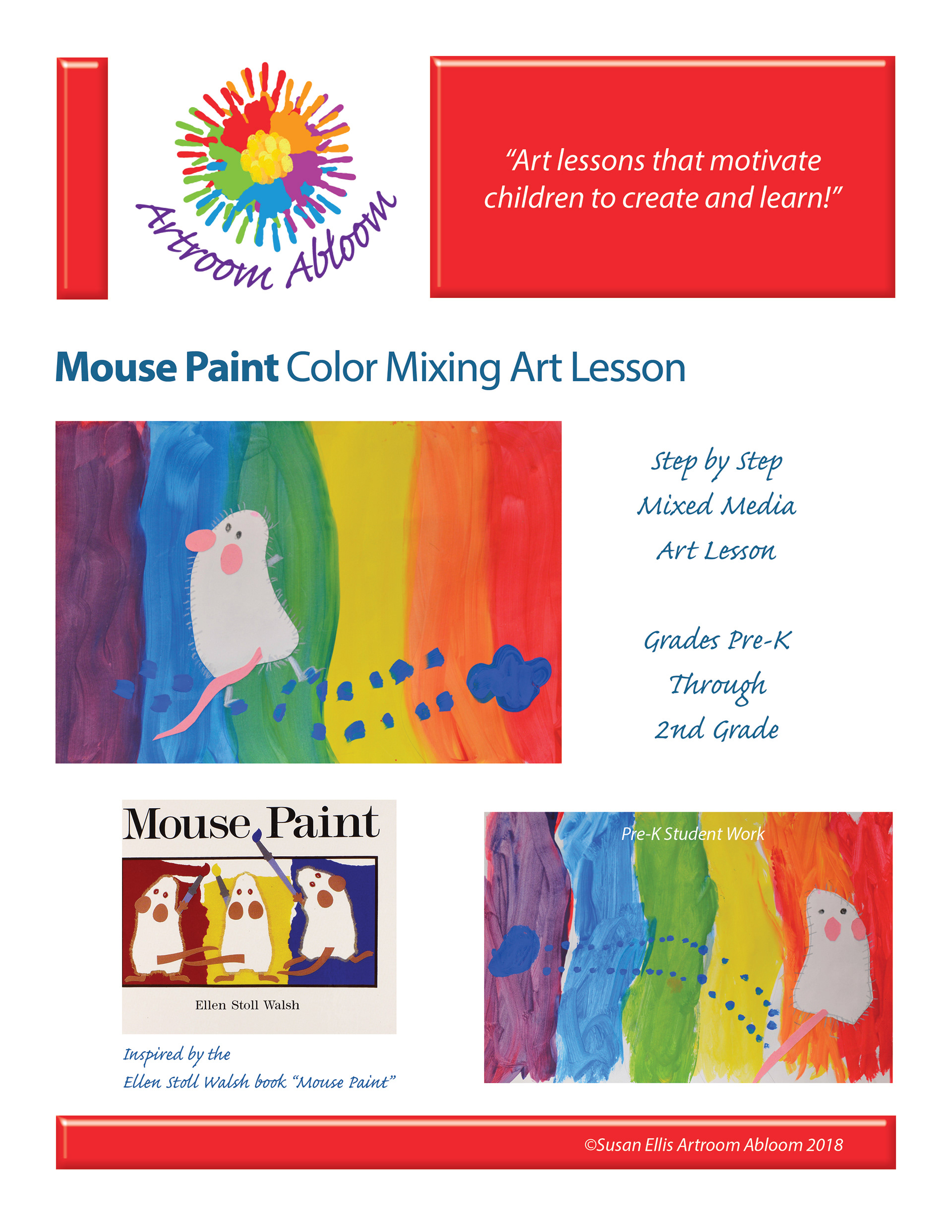 artroom abloom mouse paint color mixing art lesson