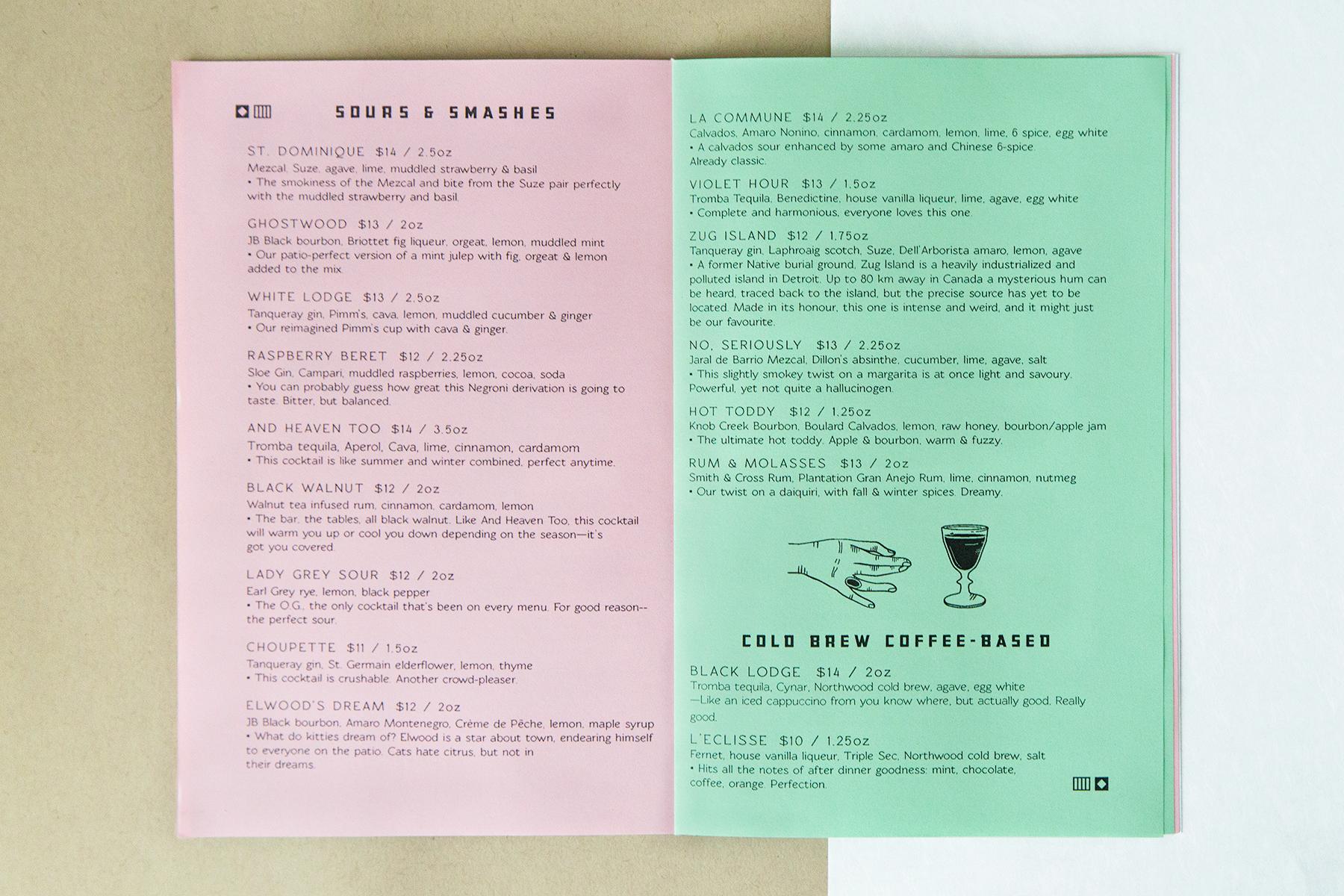 jade lexine - design, etc. - northwood: menu design