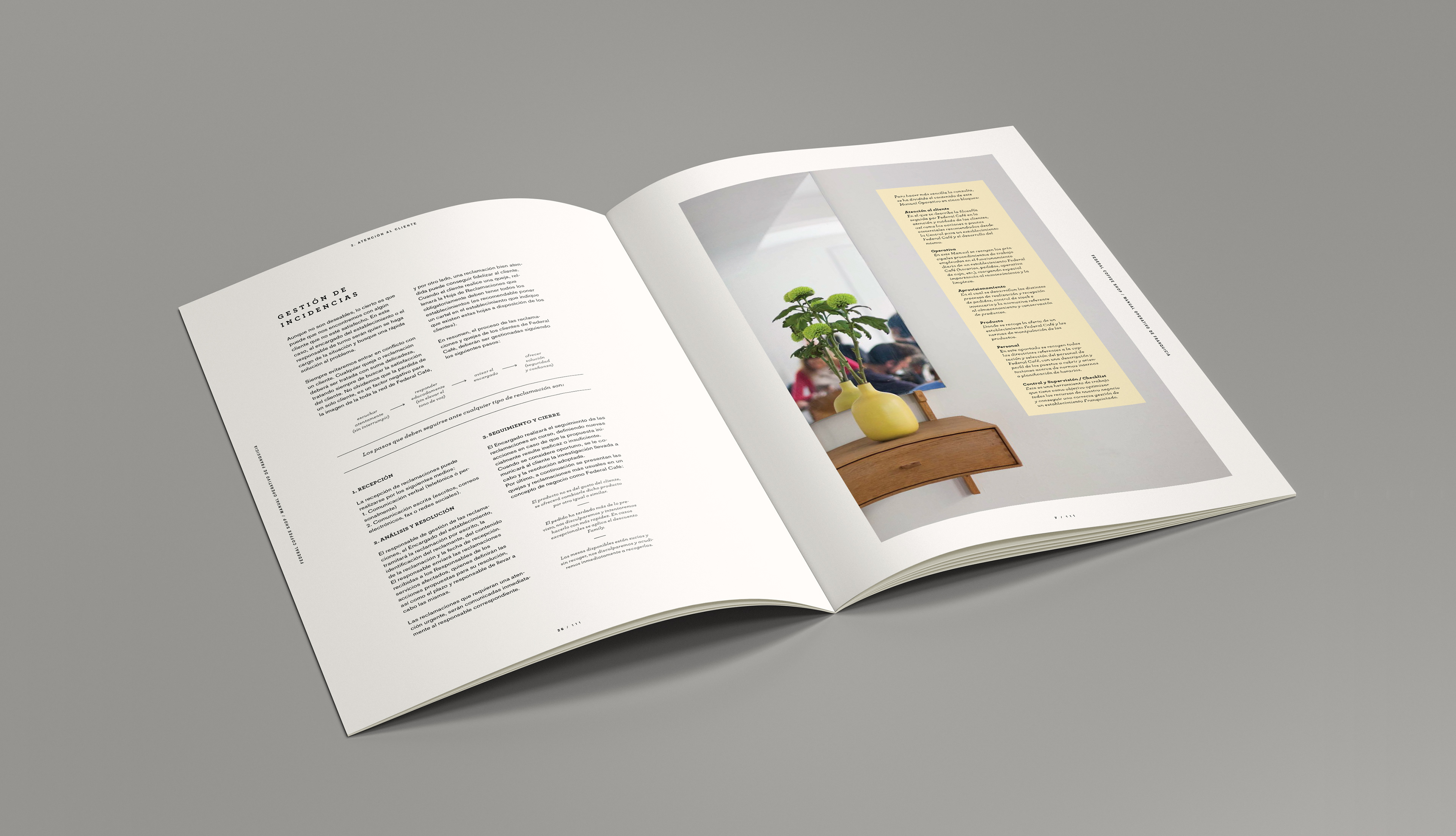 Editorial Design for the franchise manual of Federal Coffee Shop.