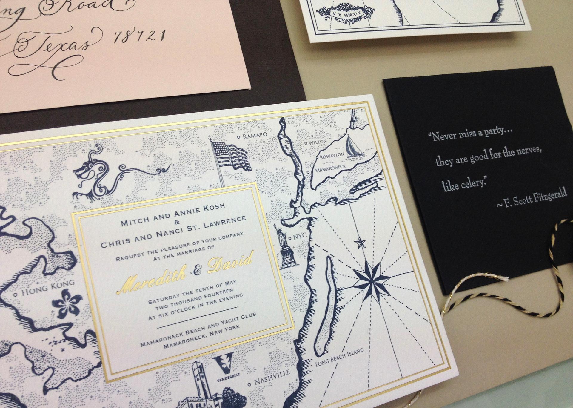 Ka Lo Chu - Vintage New York Bespoke Wedding Invitation Design