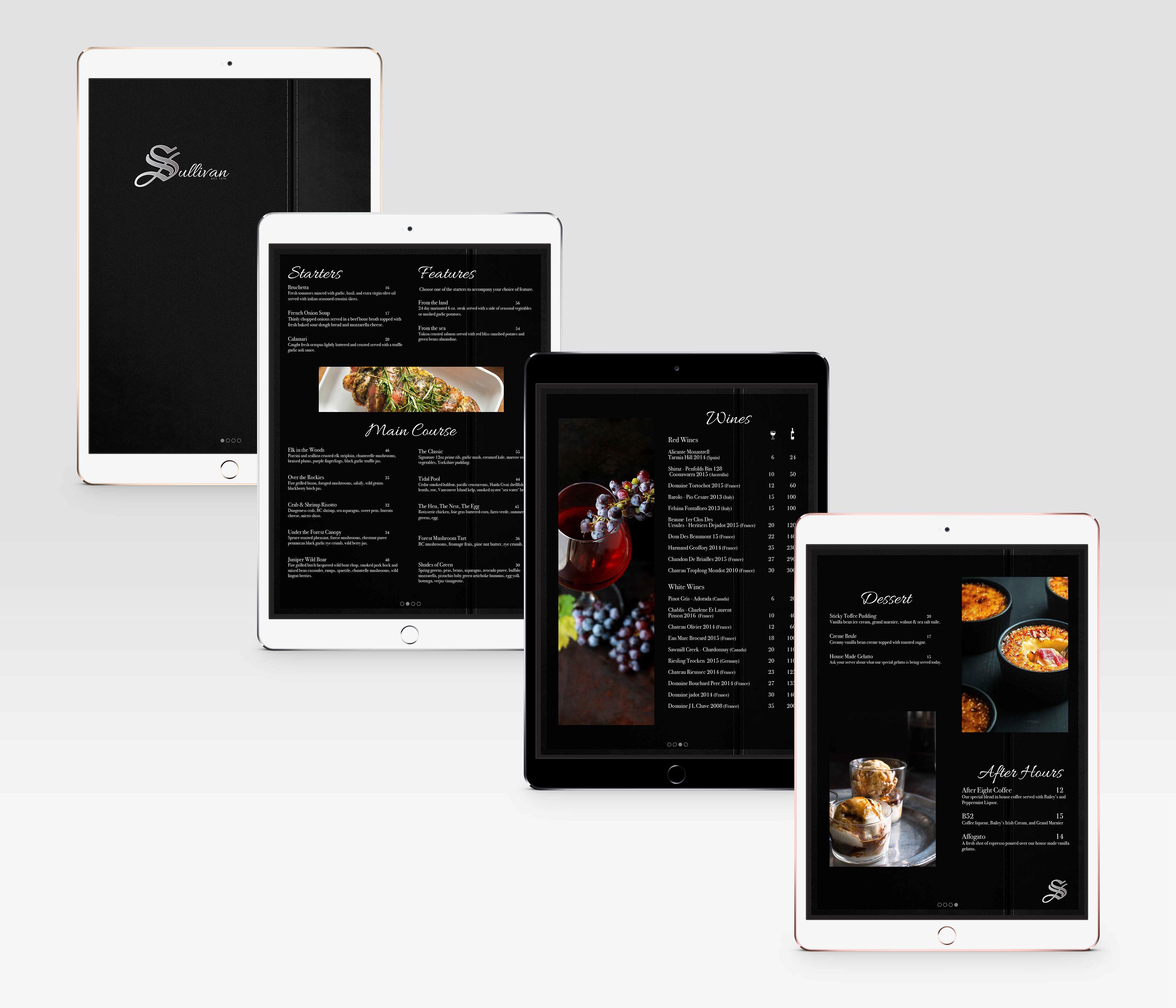 holly booth portfolio sullivans fine dining menu design