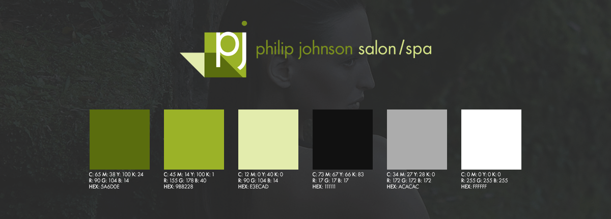 Eightone creative philip johnson salonspa the new identity and color palette was then used to create a completely new set of marketing materials including business cards brochures reheart Images