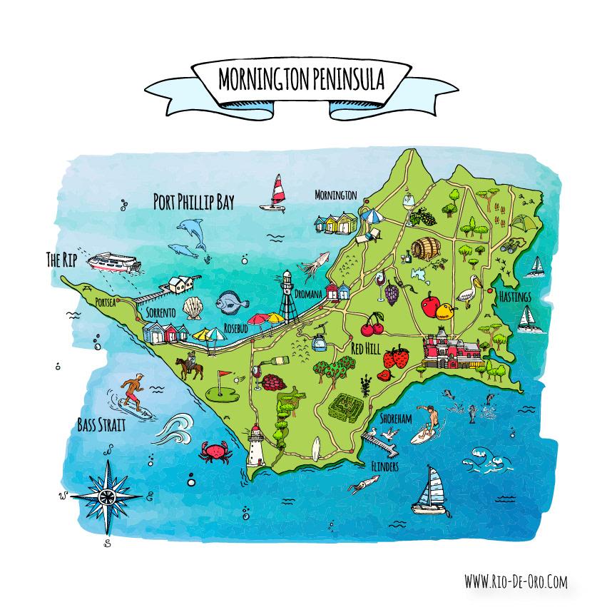 Peninsula In Europe Map.Natalia Pankina Mornington Peninsula Cartoon Map
