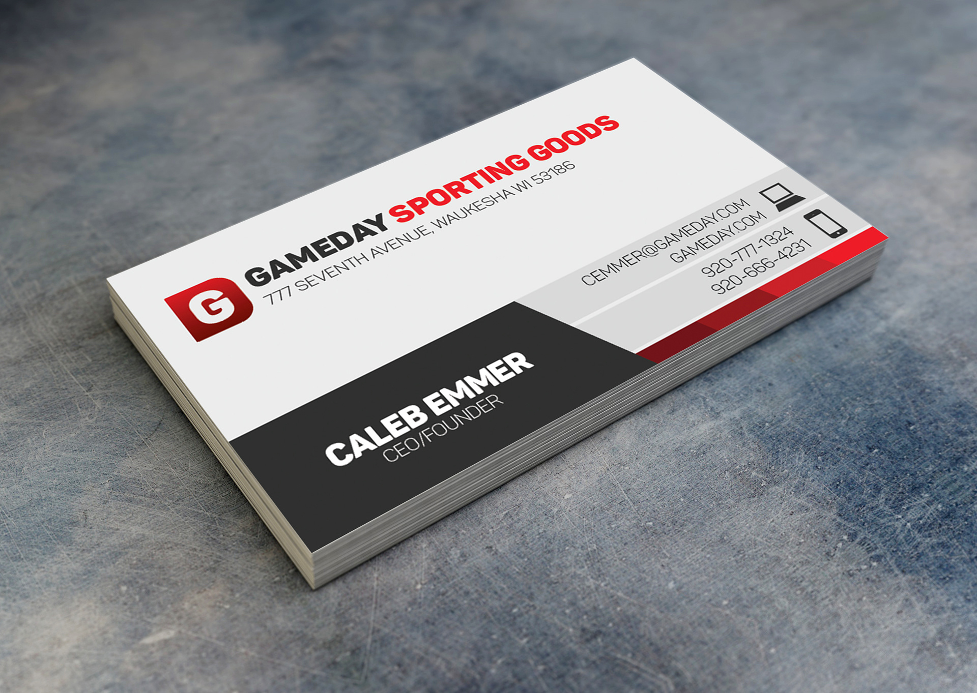 Caleb emmer business card for the company ceo it includes a straightforward red and grayscale color theme the logo i created resembles a g cut out of a d magicingreecefo Choice Image