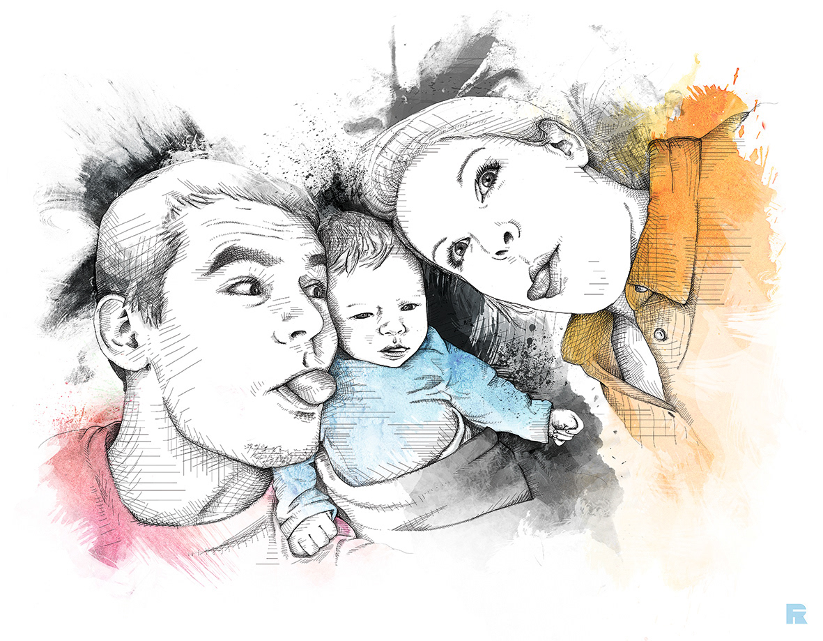 rico franzmann illustration family portrait hatching watercolor