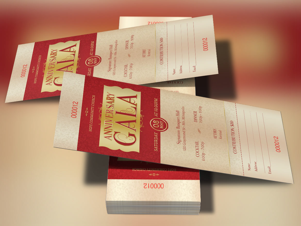 Anniversary Gala Ticket Template Is For Weddings Banquets Balls Commemorations Independence Celebrations Church