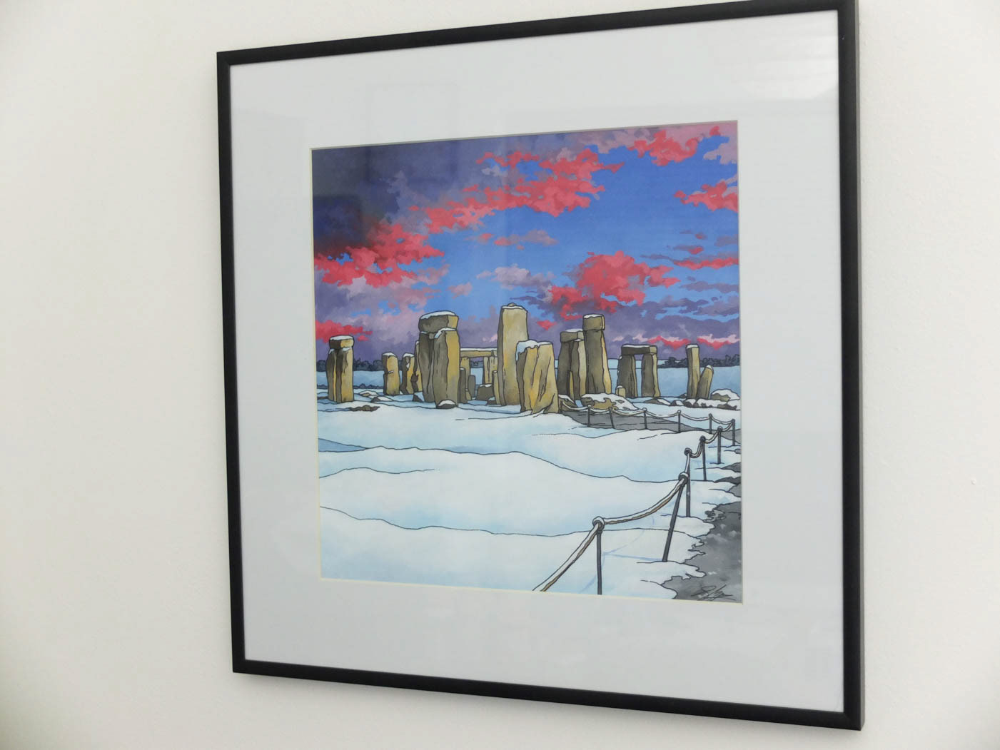 Illustration by jonathan stonehenge at twilight a colourful winter scene with an electric skyline this 28 x 28cm original painting is presented in a 40 x 40cm glazed frame jeuxipadfo Gallery