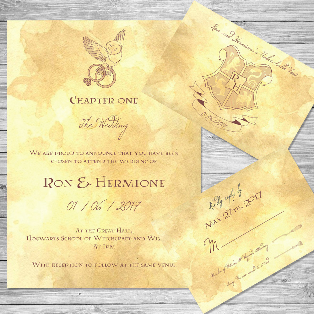 harry potter wedding invitation set 2 - Harry Potter Wedding Invitations