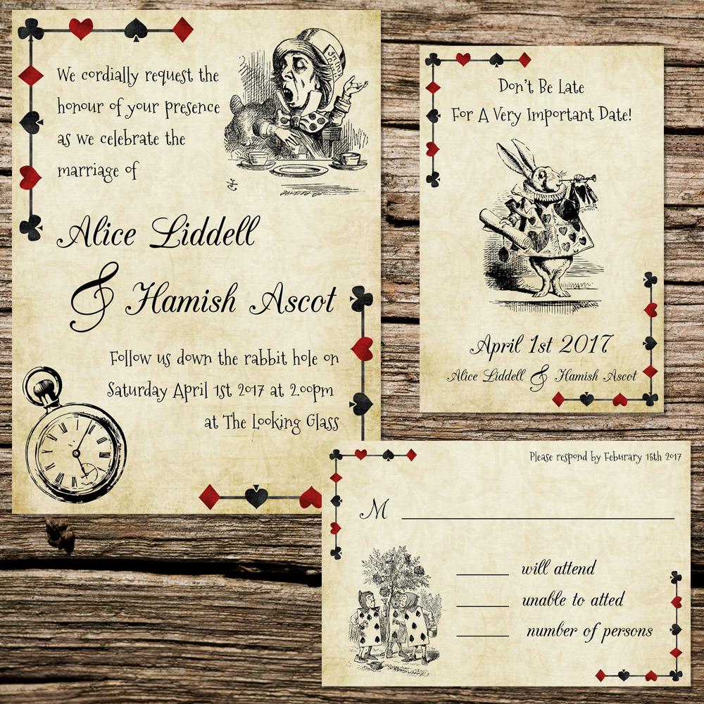 Serena Masonde - Alice In Wonderland Wedding Invitation Set