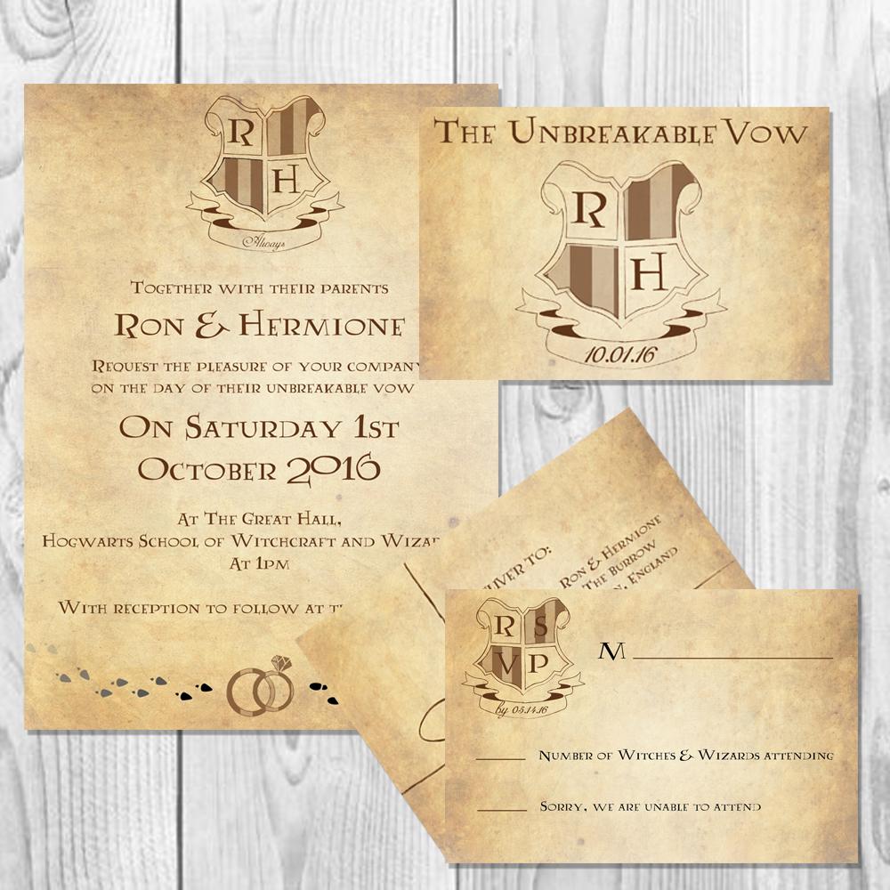 Serena masonde harry potter wedding invitation set harry potter wedding invitation set stopboris Images