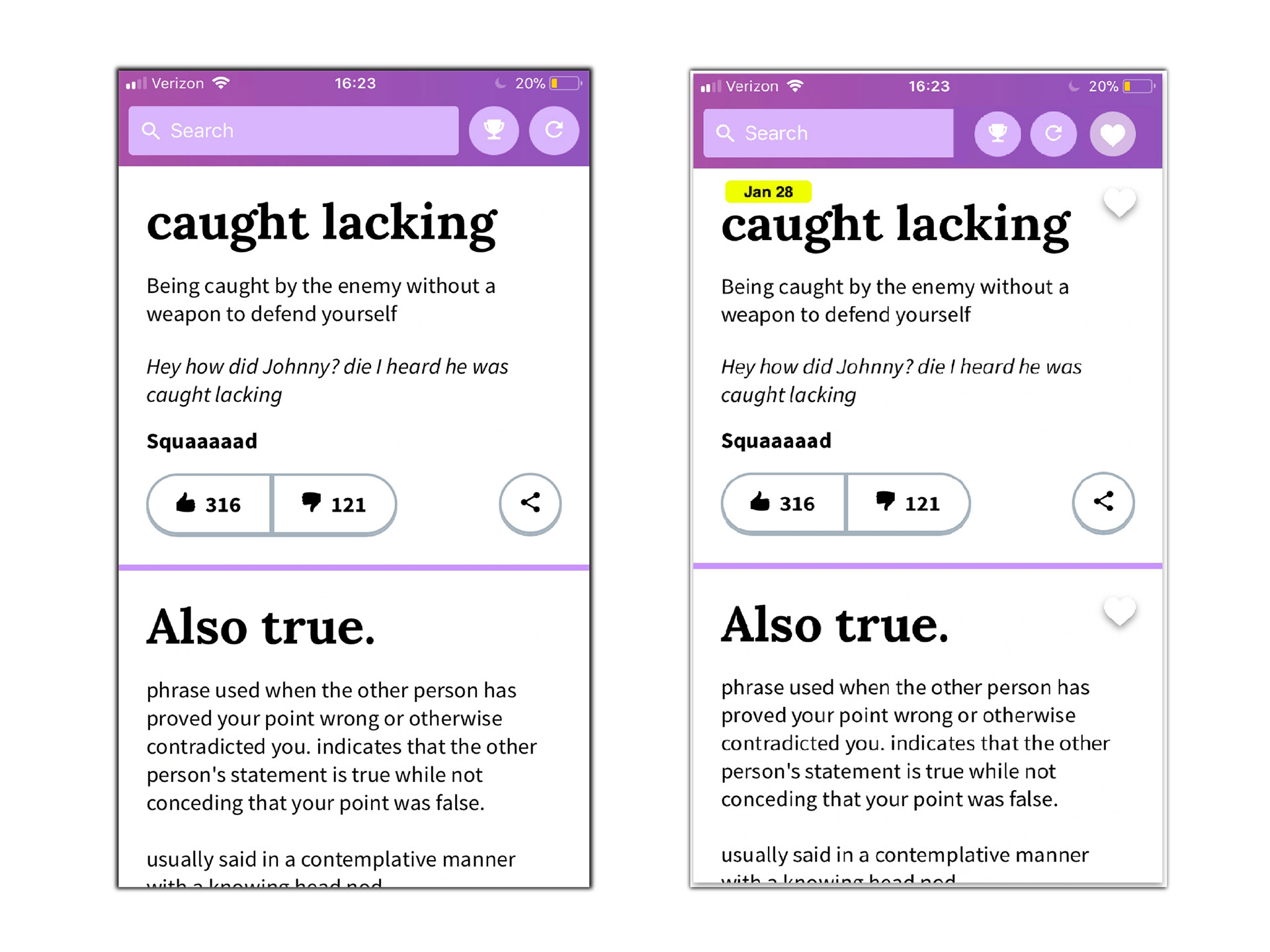 Yan Liu - Urban Dictionary App - Redesign
