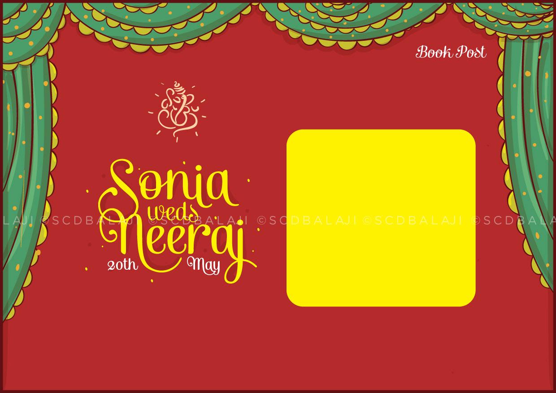 Vivid Rajasthani Marwari Wedding Invite Size A5 Front Back Card Cover GSM 300 Lamination Glossy