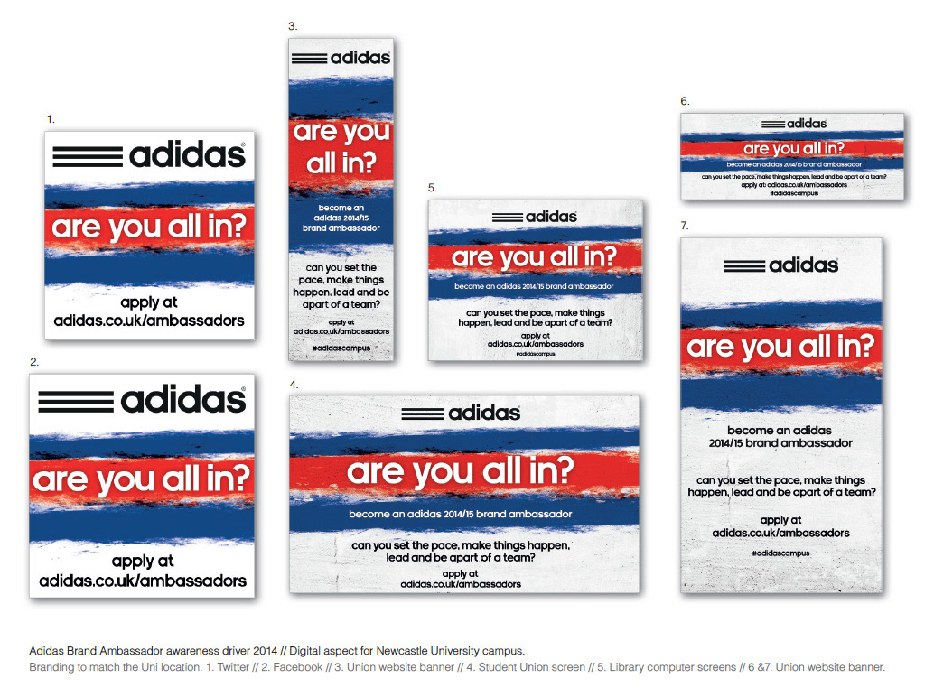 Print and digital pieces designed to create impactful and recognisable  messaging for Adidas b00447f3d