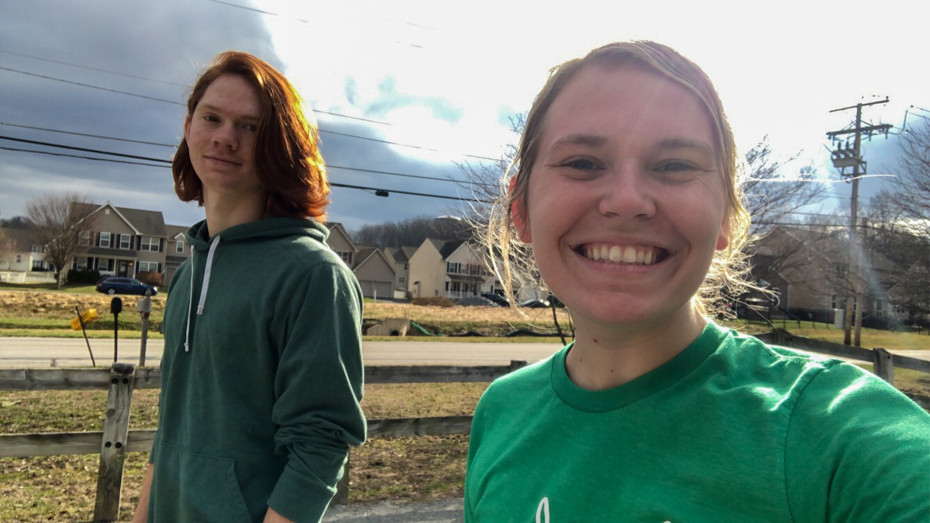 Maggie Kaliszak enjoying nature with her brother Brian on their weekly walks, April 28th, 2020. Maggie Kaliszak  |  New Freedom, Pennsylvania