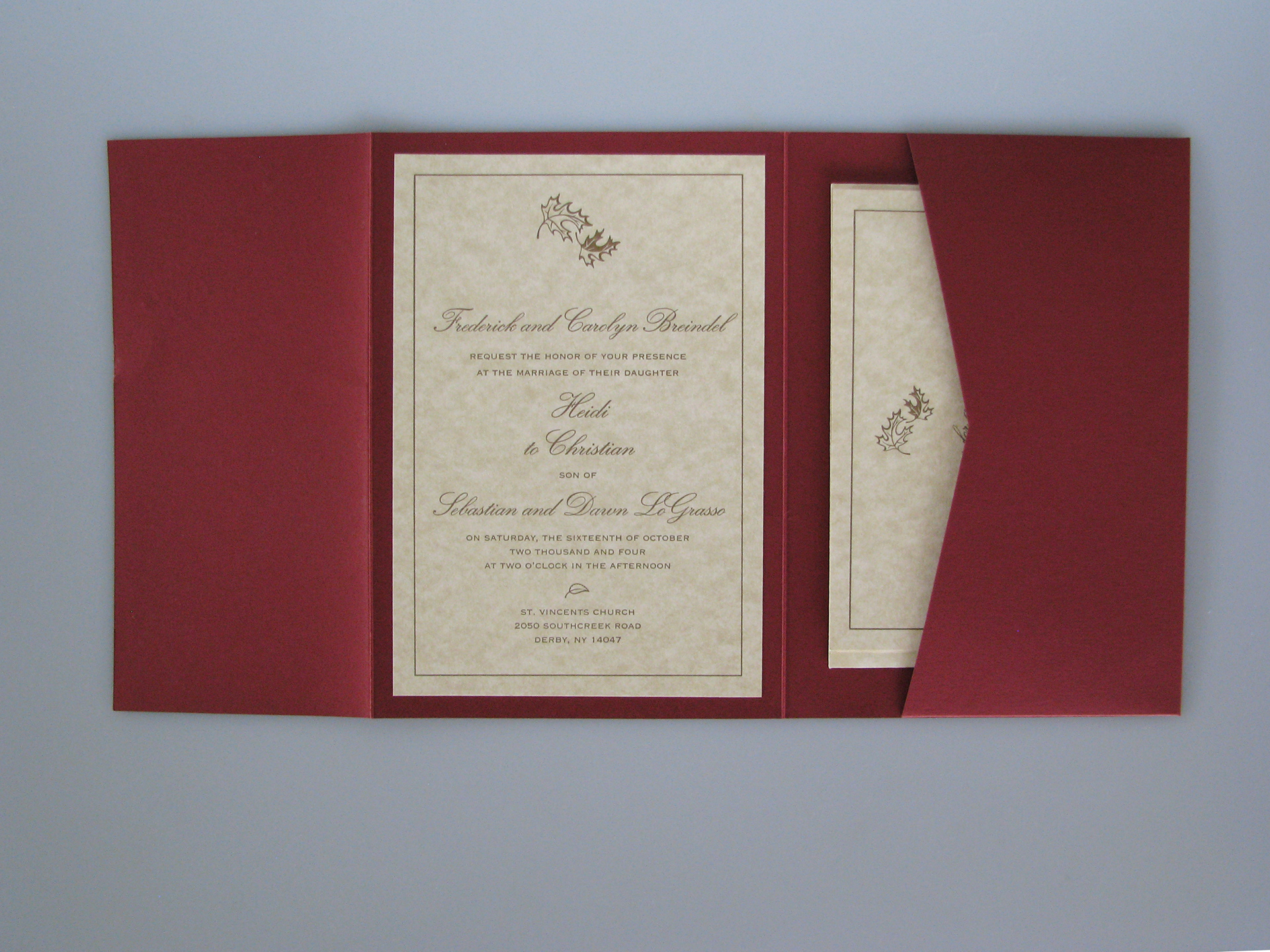 Christian LoGrasso - Fall themed letterpress wedding invitation