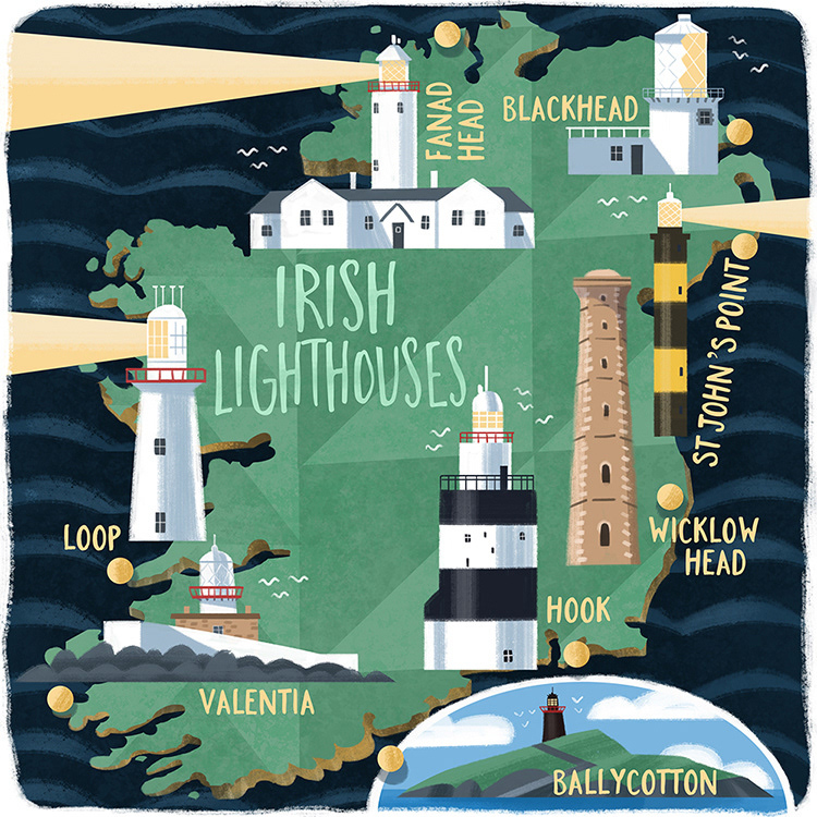Lighthouses In Ireland Map.Graham Corcoran Irish Lighthouses
