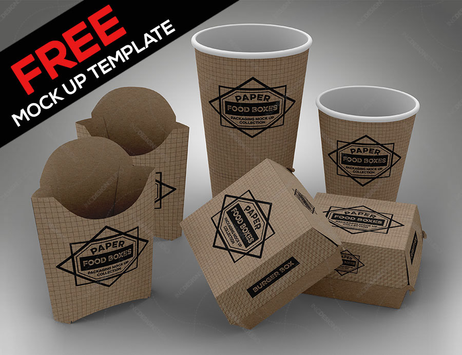 IN.C DESIGN STUDIO - FREE Fast Food Set PSD Mock Up Template