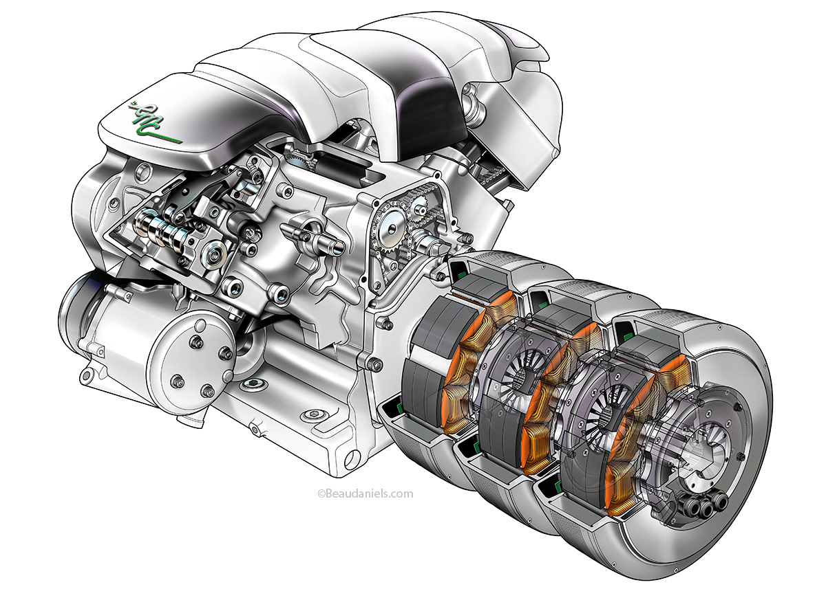 The Final Composited Hybrid Engine Cutaway Ilration