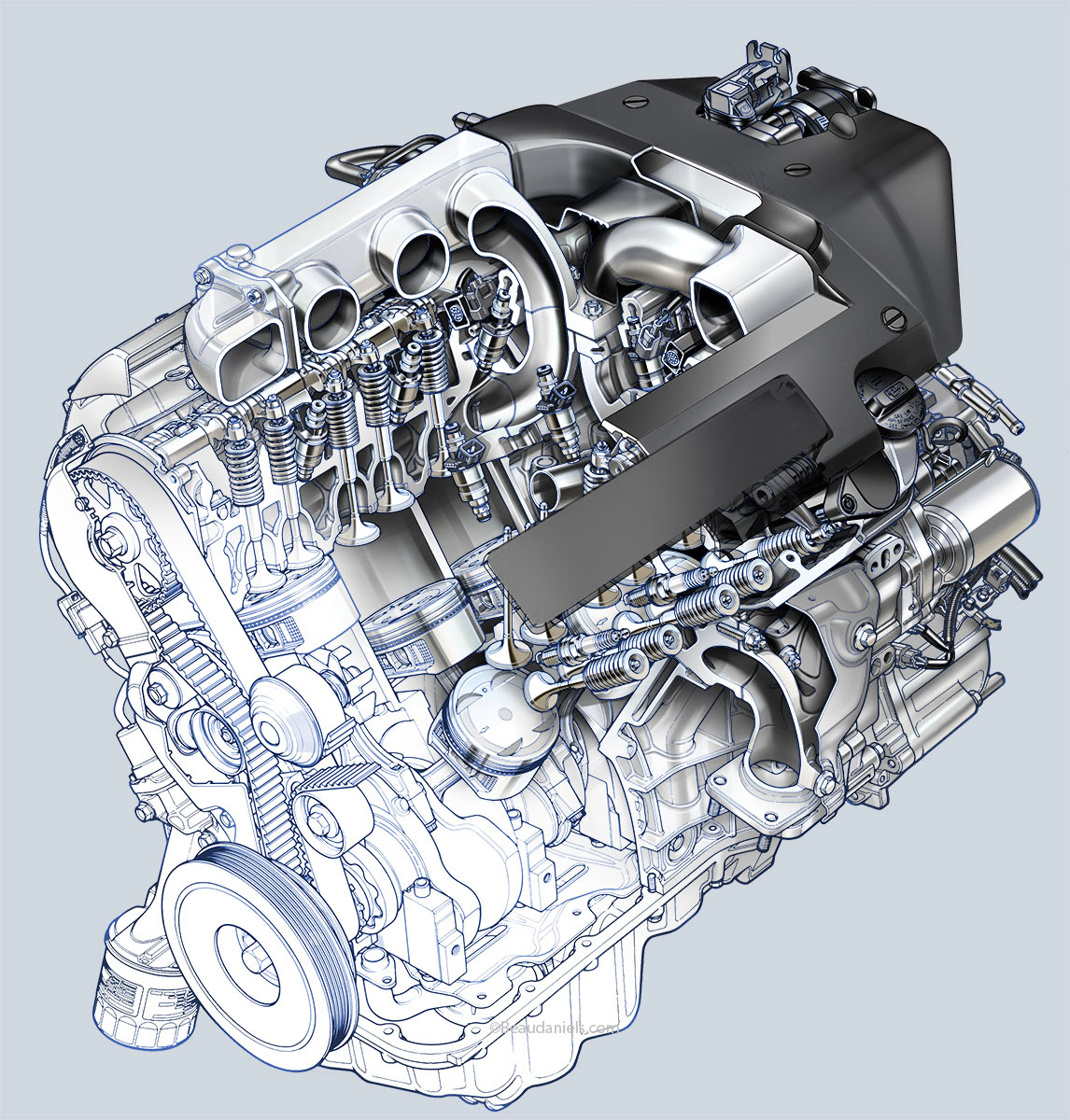 Technical illustration beau and alan daniels generic car engines blueprint to realistic style generic v6 car engine malvernweather Images