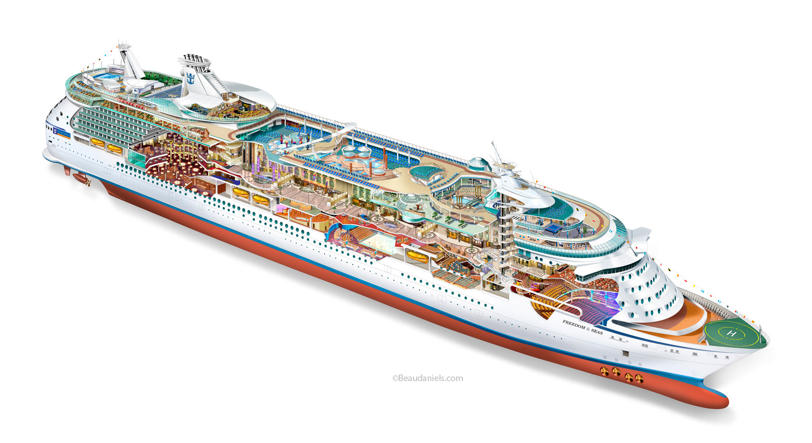Royal Caribbean Cruise Line Freedom Of The Seas Cutaway Rendered In Adobe Photoshop
