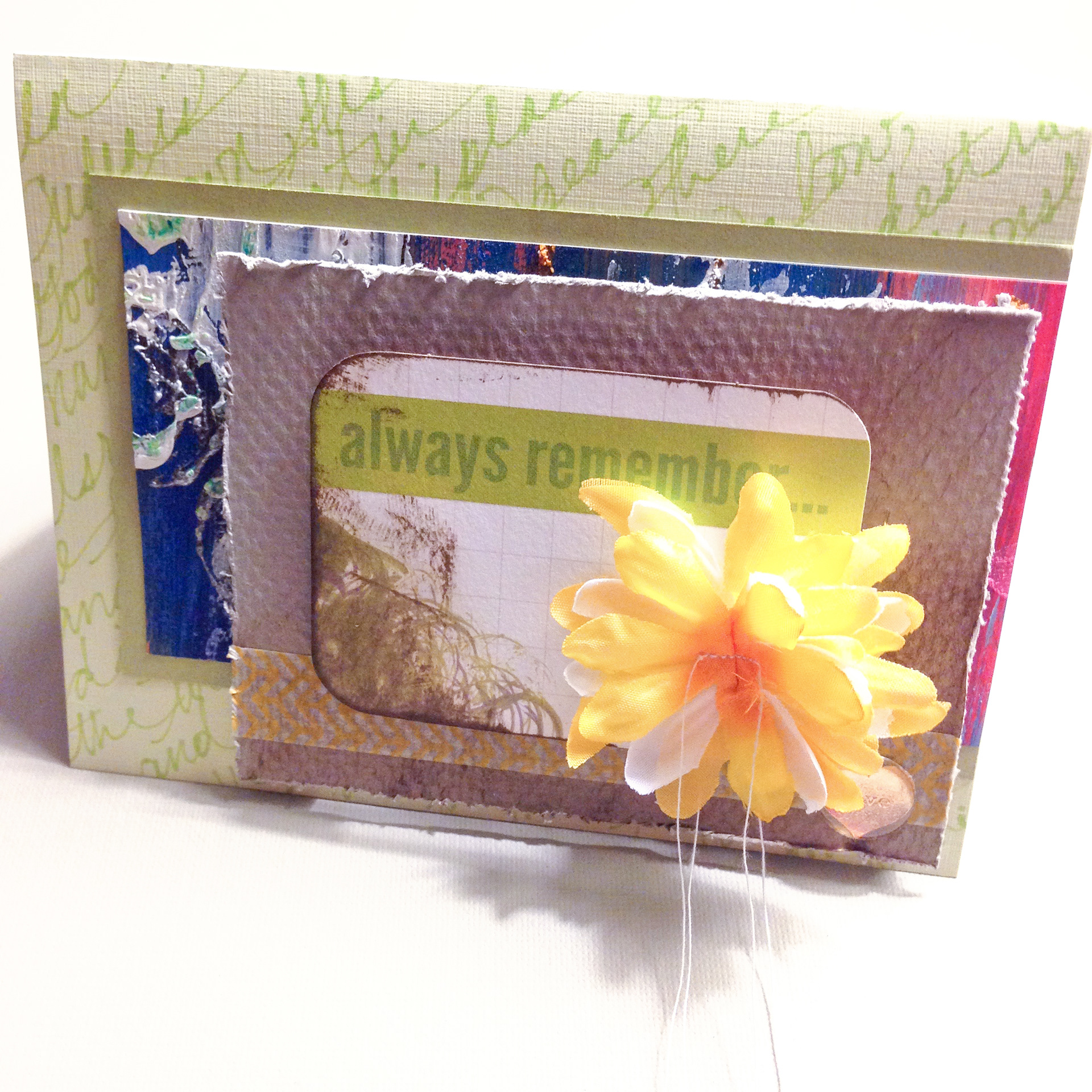 Yesterdays pickles amelia tatalovic handmade greeting cards a sympathy card with a handwritten psalm in the background a heavily textured mixed media scrap and some other papers topped with several fabric flowers m4hsunfo